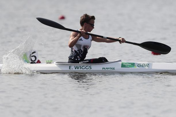 Emma Wiggis of Great Britain in action during the Canoe Sprint - Women's KL2 200m heat 1 at the Rio 2016 Paralympic Games.