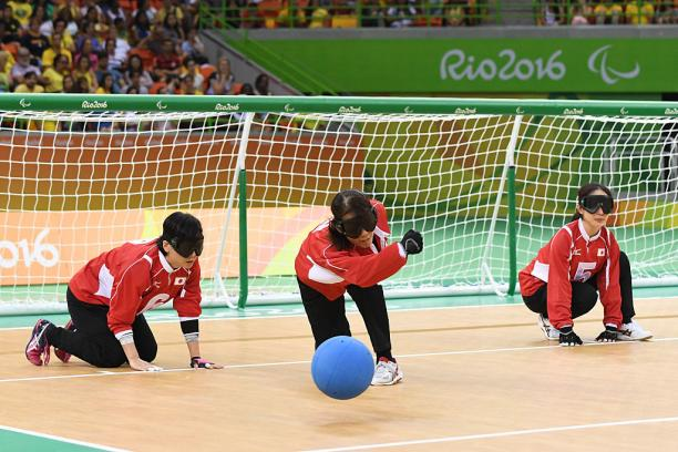 Akiko Adachi of Japan throws the ball in the women's Goalball at the Rio 2016 Paralympic Games.