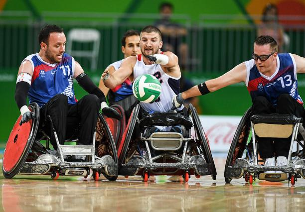 Kory Puderbaugh of United States and Christophe Salegui and Jonathan Hivernat of France compete at the Rio 2016 Paralympic Games.