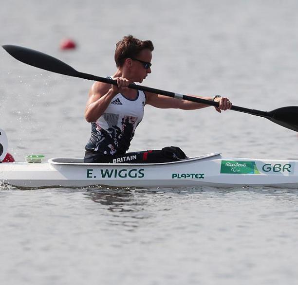 Athlete practicing para-canoe