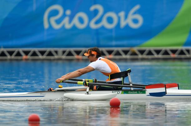 Alexander van Holk of the Netharlands winner of the AS Men's Single Sculls - ASM1x Final B at the Rio 2016 Paralympic Games.