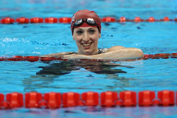 Bethany Firth of Great Britain celebrates winning the gold medal in the Women's 100m Backstroke - S14 Final at the Rio 2016 Paralympic Games.