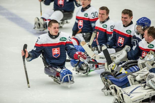 Martin Joppa of Slovakia at the Ostersund 2015 IPC Ice Sledge Hockey World Championships B-Pool.