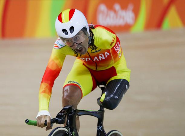 Spain's Juan Jose Mendez Fernandez competes in the men's 3km C1 Individual Pursuit Qualifying at the Rio 2016 Paralympics.