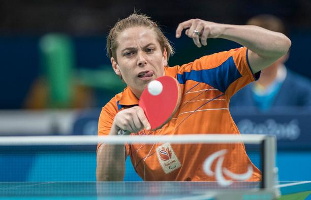 Dutch table tennis player playing the ball