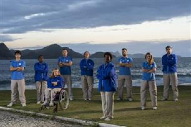 The Rio 2016 Pioneer Volunteers group photographed during the filming of the campaign.