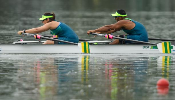 Michel Pessanha BRA and Josiane Lima BRA winning the TA Mixed Double Sculls - TAMix2x Final B at the Rio 2016 Paralympic Games.