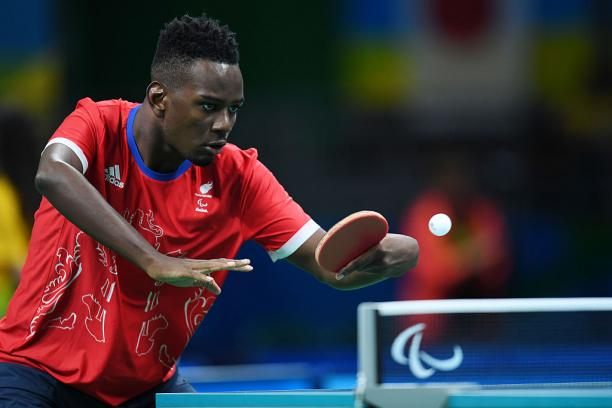 Ashley Facey Thompson of Great Britain competes in the Men's singles Table Tennis - Class 9 at the Rio 2016 Paralympic Games.