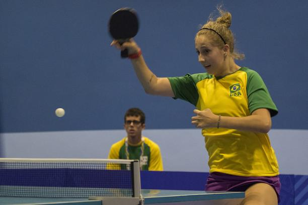Brazilian table tennis player Danielle Rauen in action at the Sao Paulo 2017 Youth Parapan American Games.