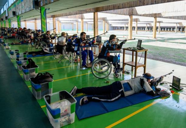 Competitors in the R6 - Mixed 50m Rifle Prone SH1 qualifying competition at the Rio 2016 Paralympic Games