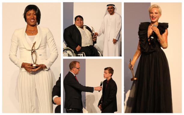Para athletes receive their awards on stage