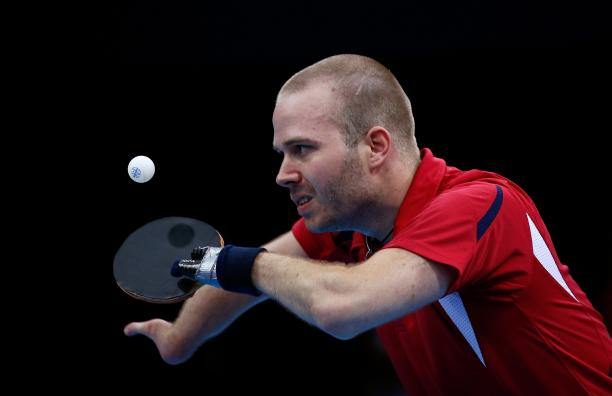 Peter Rosenmeier from Denmark plays at the London 2012 Paralympic Games