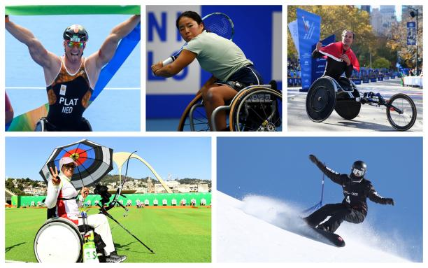 a group of Para athletes celebrate winning their events