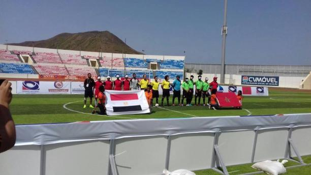 two blind football teams line up before the game