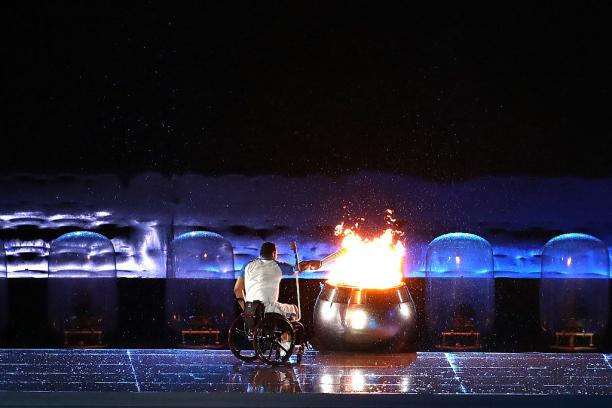 Clodoaldo Silva lights the cauldron during the Opening Ceremony of the Rio 2016 Paralympic Games.