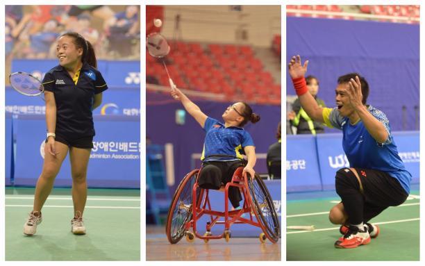 three Para badminton players celebrate on the court