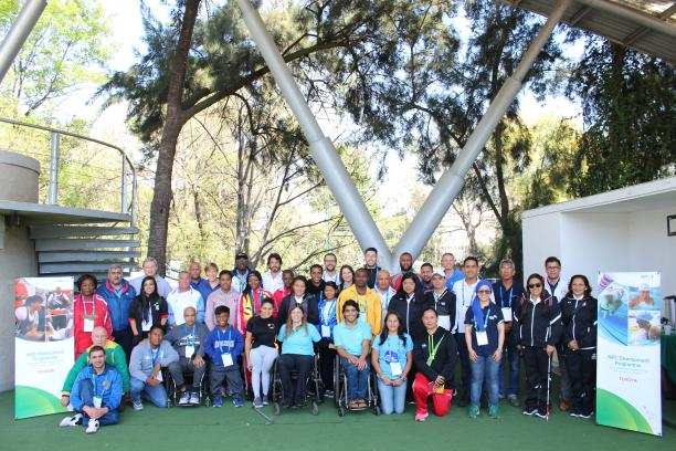 Participants of the Agitos Foundation Training Camp Mexico 2017 camp pose for a group picture