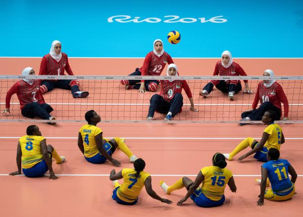 Sitting volleyball players