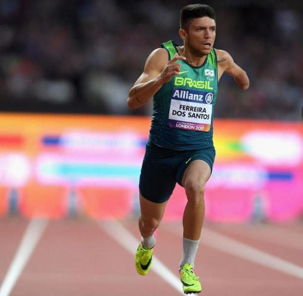 Petrucio Ferreira dos Santos of Brazil wins and sets a new world record in the Men's 100m T47 Final at the London 2017 World Para Athletics Championships.