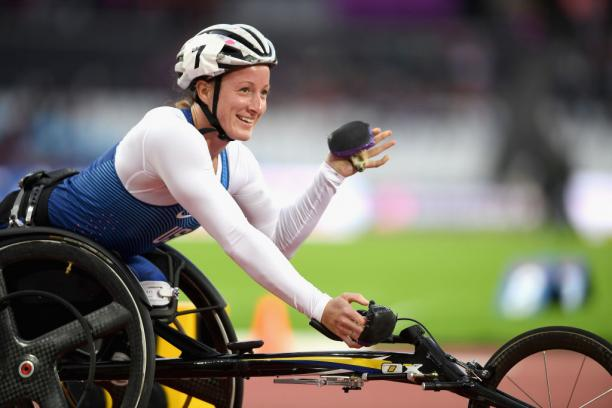 Tatyana McFadden of the United States celebrates winning a gold medal in the Women's 800m T54 Final at the London 2017 World Para Athletics Championships.