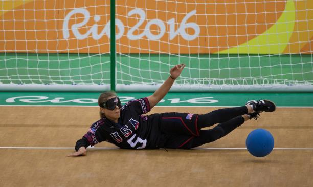 Amanda Dennis USA in action during the Goalball Women's Preliminary Group C match between the United States of America and Brazil at Future Arena