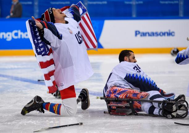 USA´s Jen Lee celebrates after defeating Canada 2-1 in the Para ice hockey final at PyeongChang 2018