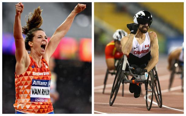 two Para athletes celebrate winning races