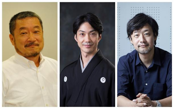 Mansai Nomura,Takashi Yamazaki, Hiroshi Sasaki all smiling for the camera