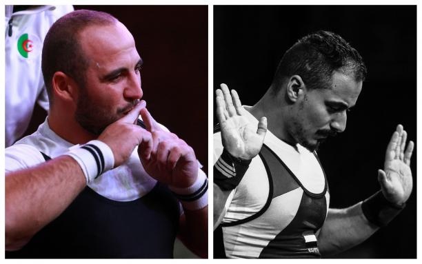 male powerlifters Hocine Bettir and Mahmoud Attia sitting side by side