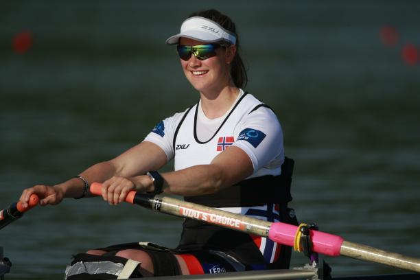 Norway's Birgit Skarstein, AS Women's Single Sculls heat, 2015 World Rowing Cup II Varese, Italy