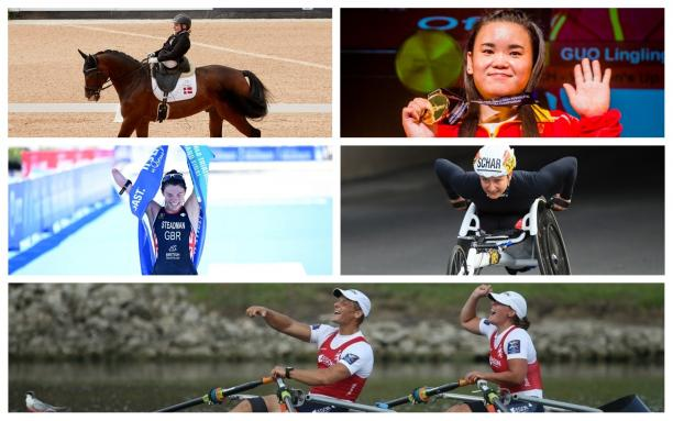 Picture collage of four female and one male athlete
