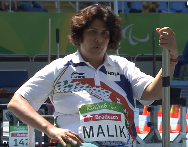 Female athlete Deepa Malik in a wheelchair competing in athletics