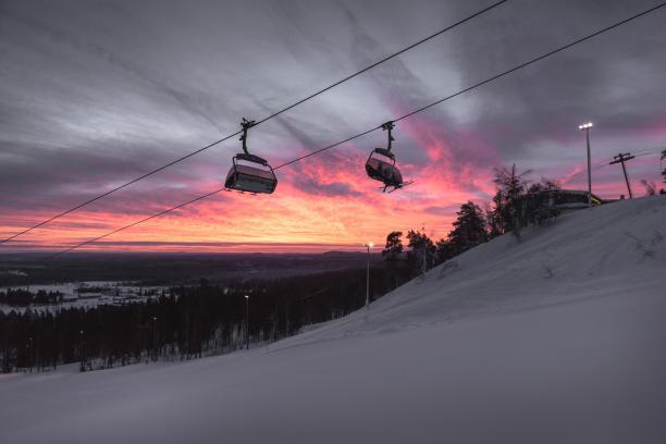 A cable car at a ski resort