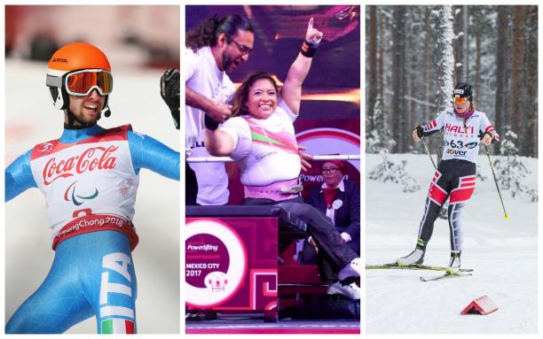 Para skiers and powerlifters competing in their sports