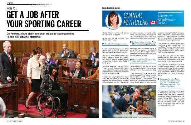 Page of a magazine about woman senator in a wheelchair