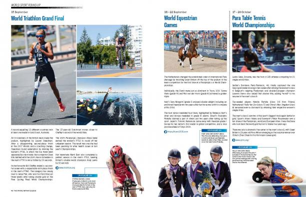 Magazine page with a review of triathlon and table tennis comeptitions