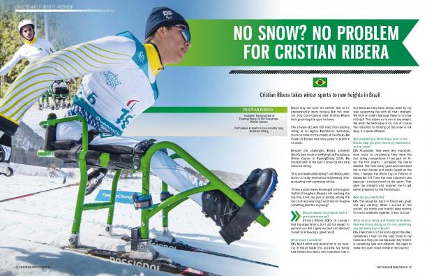 Magazine page with photo of Brazilian Nordic sit-skier