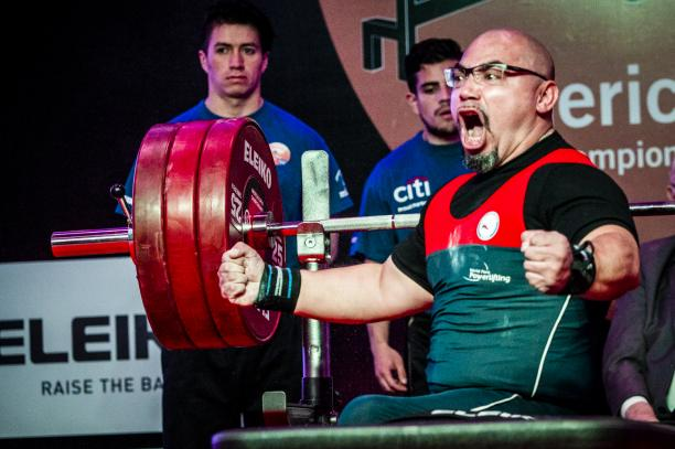 Chile's Juan Carlos Garrido celebrates winning gold at the Bogota 2018 orld Para Powerlifting Americas Open Championships.