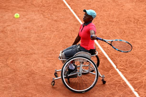 South African wheelchair tennis player Kgothatso-Montjane playing on clay