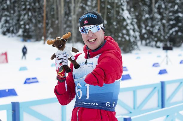 male Para Nordic skier Mark Arendz skis through the snow