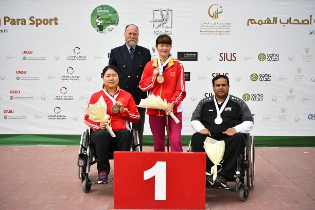 Yan Yaping of China won gold in the R6 (mixed 50m rifle prone SH1) at the Al Ain 2019 World Cup
