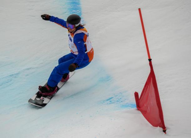 Spaniard snowboarder Astrid Fina competing
