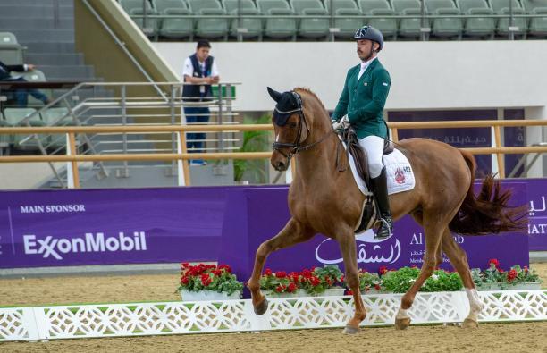 male Para equestrian rider Rodolpho Riskalla on his horse