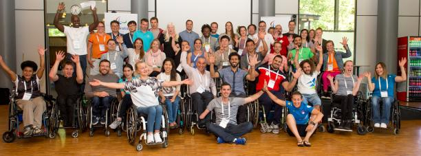 Athletes pose for a group photo at the first IPC Athletes Forum in Duisburg.