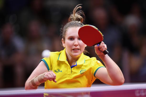 female Para table tennis player Melissa Tapper plays a forehand