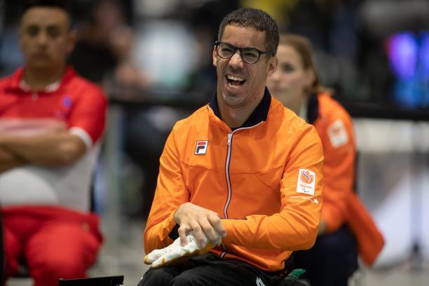 male boccia player Daniel Perez smiling