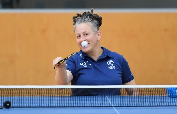 female Para table tennis player Daniela di Toro plays a forehand