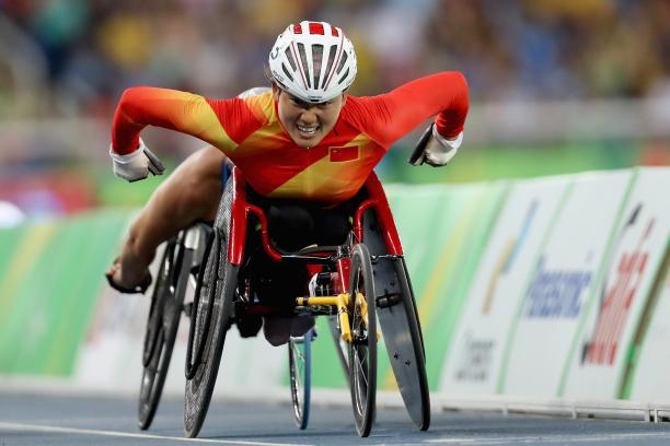 female wheelchair racer Hongzhuan Zhou on the track
