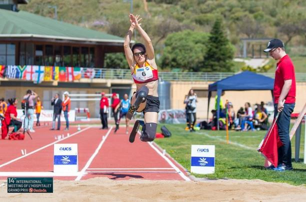 Spaniard long jumper Sara Andres in the air after her jump