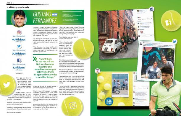 Extracted page of a magazine on an article about a male wheelchair tennis player using social media